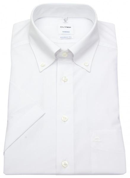 OLYMP Kurzarm Hemd - Tendenz Modern Fit - Button Down - weiß - 0712 12 00