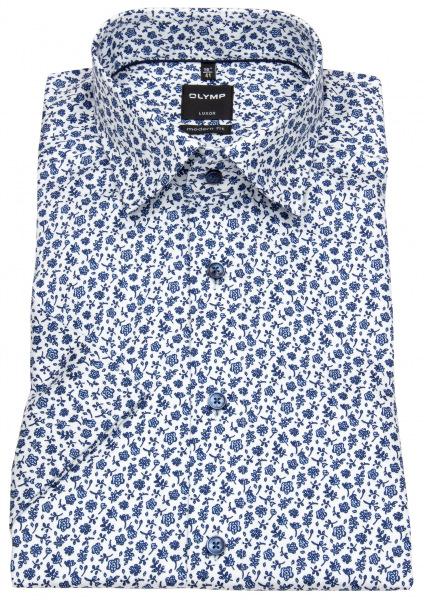OLYMP Kurzarmhemd - Luxor Modern Fit - Under Button Down - weiß / blau - 1390 72 11