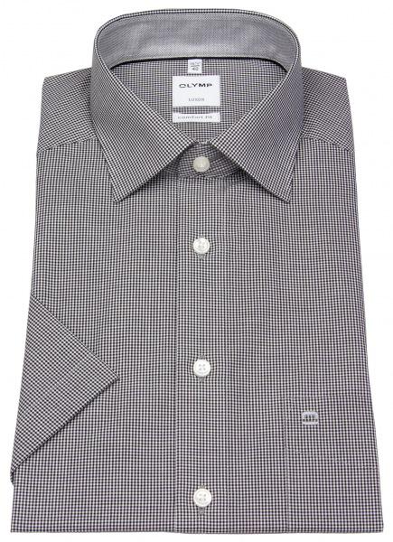 OLYMP Kurzarmhemd - Luxor Comfort Fit - Check - schwarz / weiß - 3190 12 68