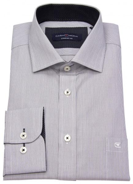 Casa Moda Hemd - Comfort Fit - Streifen - schwarz / weiß - 383059800 800