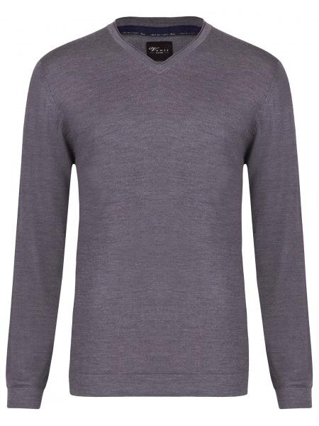 Venti Pullover - Slim - V-Ausschnitt - Merino - grau - 162504600 771