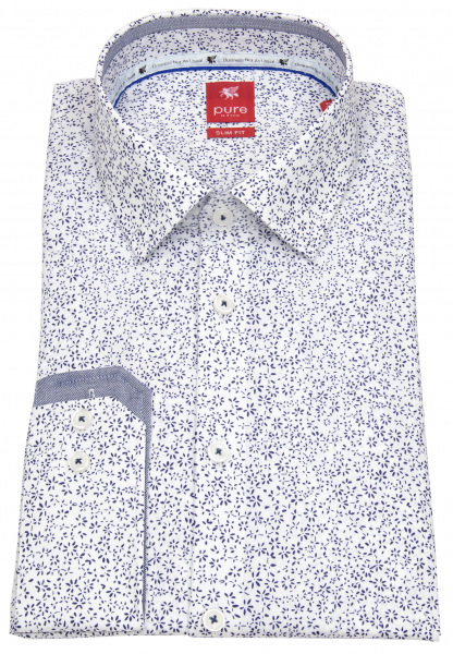 Pure Hemd - Slim Fit - Floraler Print - dunkelblau / weiß - 21025-21102 176