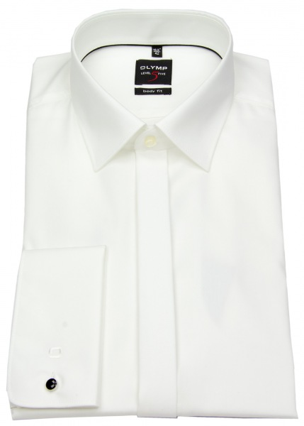 OLYMP Smokinghemd - Level Five Body Fit - Umschlagmanschette - creme - ohne OVP - 1276 65 20