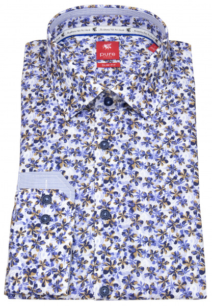 Pure Hemd - Slim Fit - Floraler Print - blau - 21011-21105 173