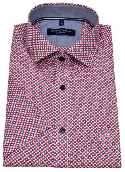 Casa Moda Kurzarmhemd - Comfort Fit - Print - rot / weiß - 903416500 400