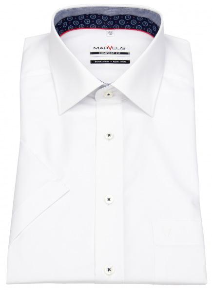 Marvelis Kurzarmhemd - Comfort Fit - Patch - Kontrastgarn - weiß - 7144 12 00