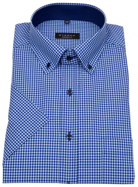 Eterna Kurzarmhemd - Comfort Fit - Button Down - kariert - blau - 8917 K144 63