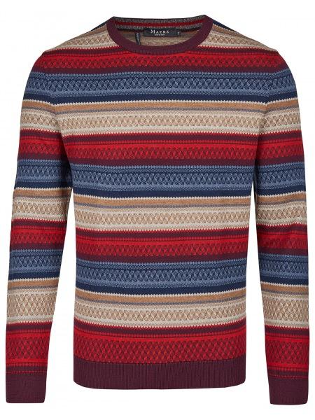 MAERZ Muenchen Pullover - Modern Fit - Rundhals-Ausschnitt - Dark Wine - 406601 477