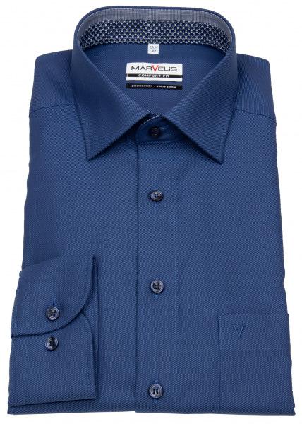 Marvelis Hemd - Comfort Fit - Struktur - Patch - blau - 7176 64 14