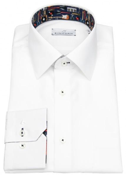 Einhorn Hemd - Modern Fit - Patch - Kontrastgarn - weiß - 392741.1306 / 14