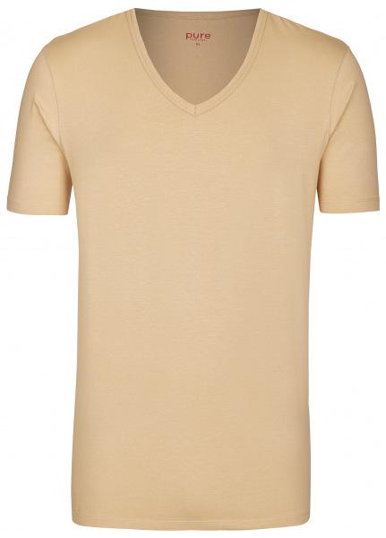 Pure T-Shirt - Slim Fit - V-Ausschnitt - caramel - 3398-92998 200