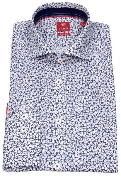 Pure Hemd - Slim Fit - Haifischkragen - Print - dunkelblau / weiß - 91045-21716 178