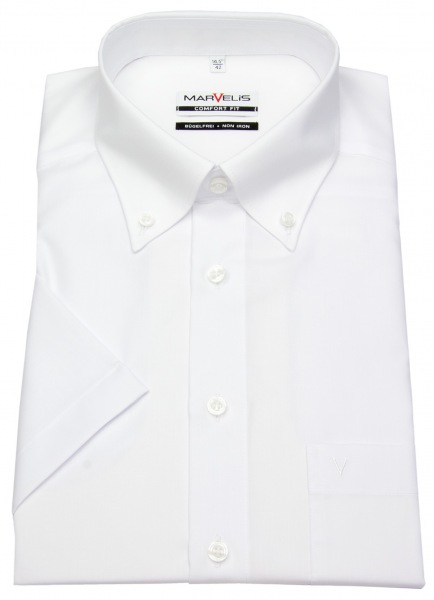 Marvelis Kurzarmhemd - Comfort Fit - Button-Down Kragen - weiß - 7971 12 00