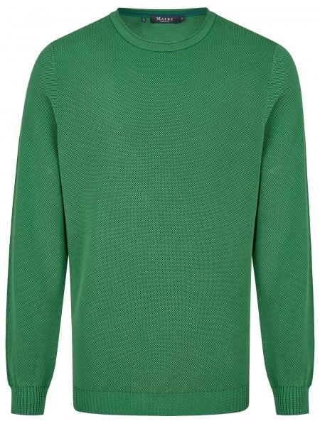 MAERZ Muenchen Pullover - Comfort Fit - Rundhals - Struktur - grün - 453301 278