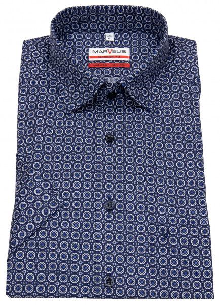 Marvelis Kurzarmhemd - Modern Fit - Under Button Down - dunkelblau / weiß - 7257 72 18