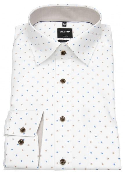 OLYMP Hemd - Luxor Modern Fit - Under Button Down - Print - Punkte - 1207 34 27