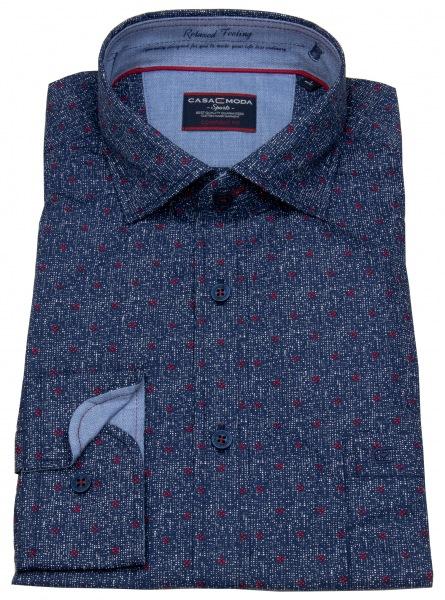 Casa Moda Hemd - Comfort Fit - Print - blau / rot - 472796300 400