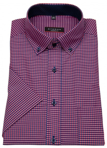 Eterna Kurzarmhemd - Modern Fit - Button Down - rot / blau - 8913 C143 58