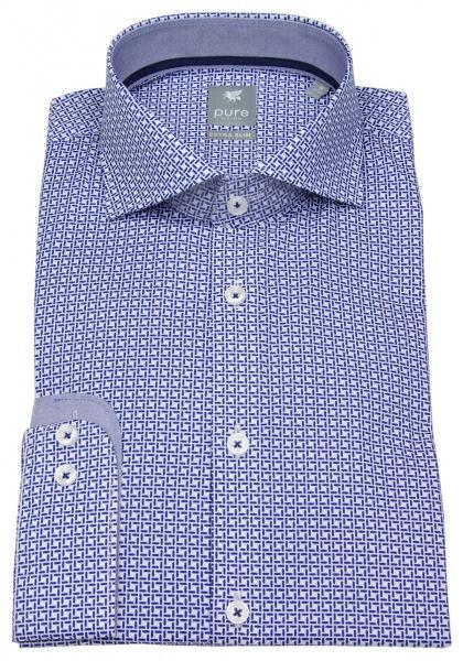 Pure Hemd - Extra Slim - Haikragen - Print - blau - 51204-51701 173