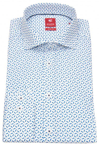 Pure Hemd - Slim Fit - Print - Stretch - blau / weiß - 91003-21708 173