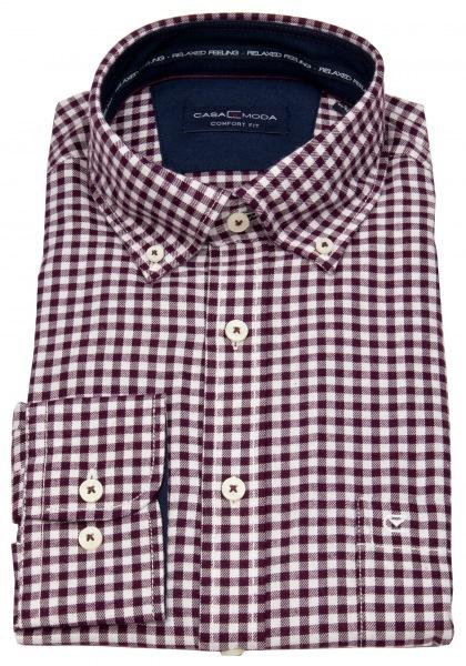 Casa Moda Karohemd - Comfort Fit - Button Down Kragen - rot / weiß - 483087500 400