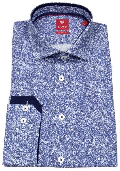 Pure Hemd - Slim Fit - Print - Stretch - blau / weiß - 81019-21112 176
