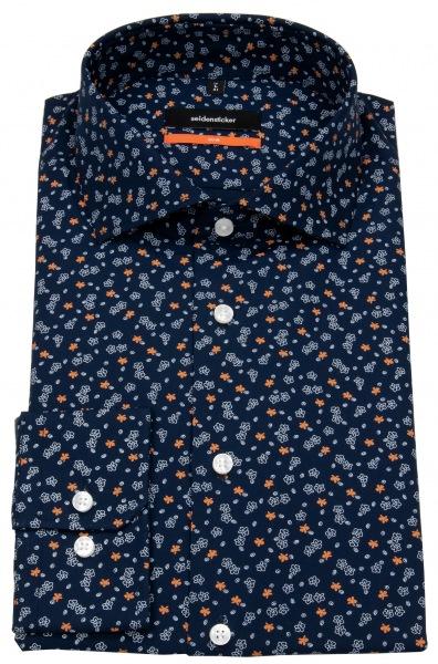 Seidensticker Hemd - Slim Fit - Print - blau / orange - 662227.67