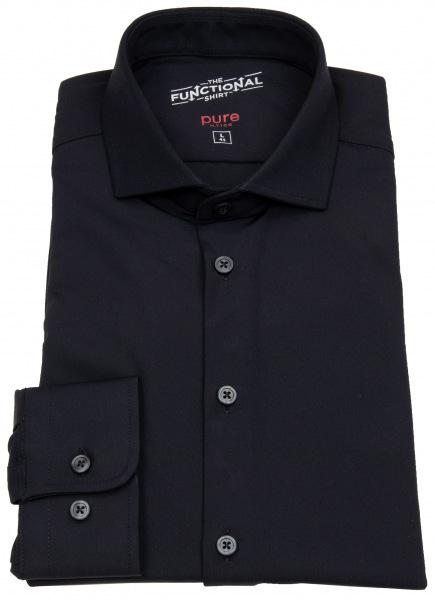 Pure Hemd - Slim Fit - Functional Shirt - Haifischkragen - schwarz - 3387-21150 001