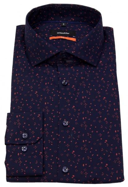 Seidensticker Hemd - Slim Fit - Print - blau / orange - 660497.68