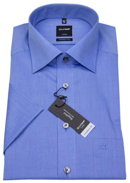 OLYMP Kurzarmhemd - Modern Fit - Chambray - blau - 0304 12 15