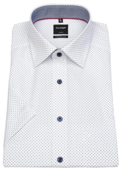 OLYMP Kurzarmhemd - Luxor Modern Fit - Print - weiß / dunkelblau - 1298 32 00