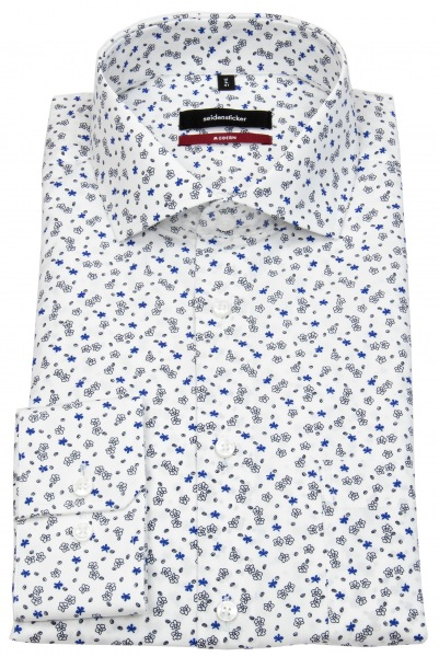 Seidensticker Hemd - Modern Fit - Haikragen - Print - weiß / blau / schwarz - 119737.15