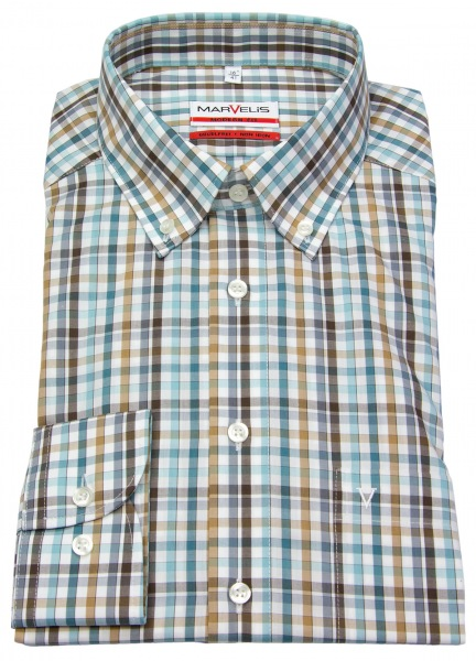 Marvelis Hemd - Modern Fit - Button Down Kragen - kariert - 7224 24 88