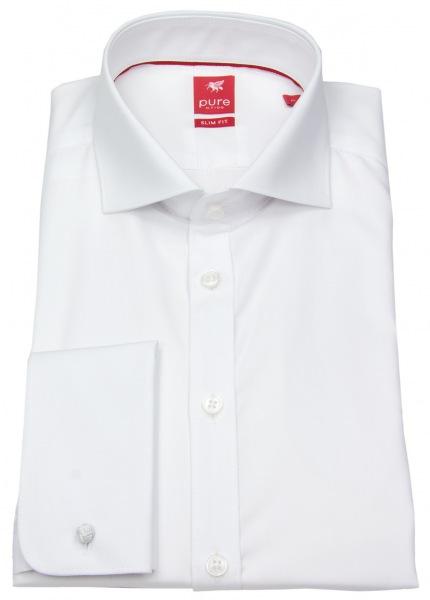 Pure Hemd - Slim Fit - Haikragen - Umschlagmanschette - weiß - 3378 790 900