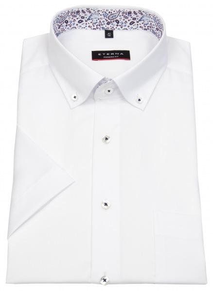 Eterna Kurzarmhemd - Modern Fit - Button Down - weiß - 8102 C14U 00