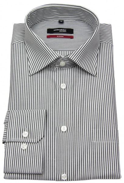 Seidensticker Hemd - Modern Fit - Kentkragen - Streifen - schwarz / weiß - 002570 38