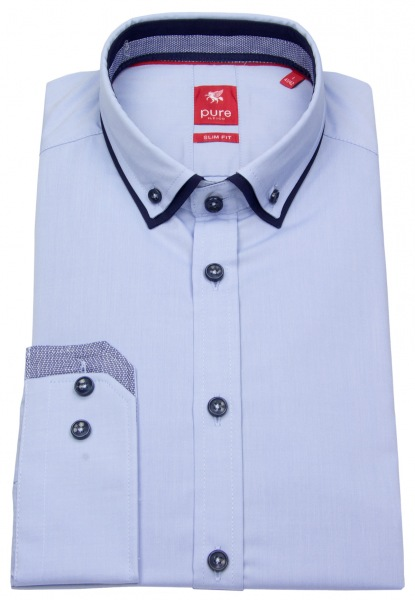 Pure Hemd - Slim Fit - Double Button Down - Patch - hellblau - 3586-540 102
