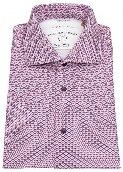 Eterna Kurzarmhemd - Regular Fit - Button Down - We Care - rot / blau - 2456 WS72 83