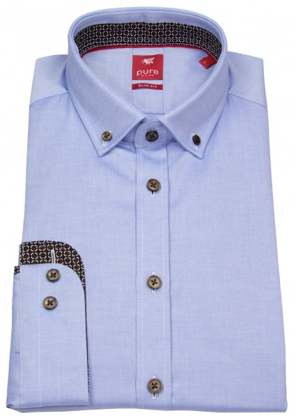 Pure Hemd - Slim Fit - Button Down - Kontrastknöpfe - hellblau - 3565 566 110