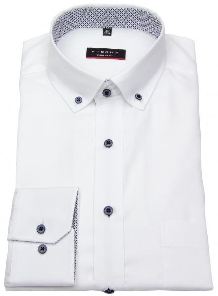 Eterna Hemd - Modern Fit - Button Down - Kontrastknöpfe - weiß - 8100 X143 00