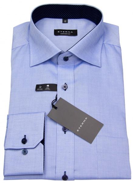 Eterna Hemd - Comfort Fit - Oxford - Kontrastknöpfe - blau - 8100 E137 12