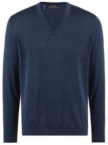 MAERZ Muenchen Pullover - Comfort Fit - V-Ausschnitt - Merinowolle - blau - 490400 368