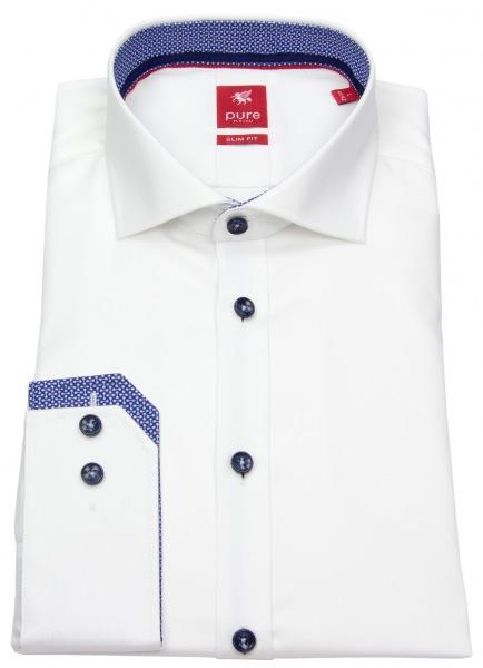 Pure Hemd - Slim Fit - Haifischkragen - Kontrastknöpfe - weiß - 3584-736 900