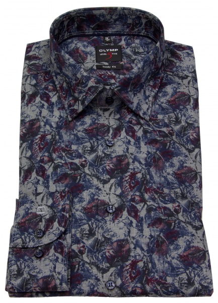 OLYMP Hemd - Level Five Body Fit - Print - grau / rot / blau - 2003 24 38