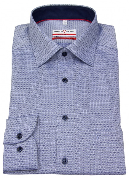 Marvelis Hemd - Modern Fit - Patch - Print - dunkelblau / weiß - 7364 64 18