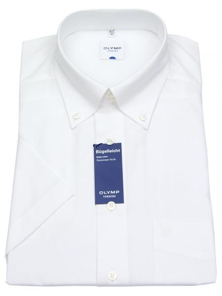 OLYMP Halbarm-Hemd - Tendenz Regular Fit - Button-Down - weiß - 0501 12 00