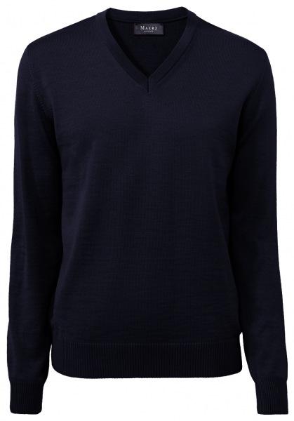 MAERZ Muenchen Pullover - Comfort Fit - V-Ausschnitt - Merinowolle - navy - 490400 399