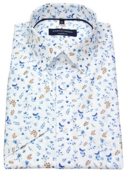 Casa Moda Kurzarmhemd - Modern Fit - Print - blau / braun / weiß - 893203800 100