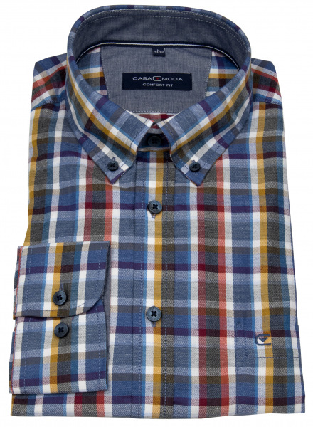 Casa Moda Hemd - Comfort Fit - Button Down Kragen - mehrfarbig kariert - 403543900 750