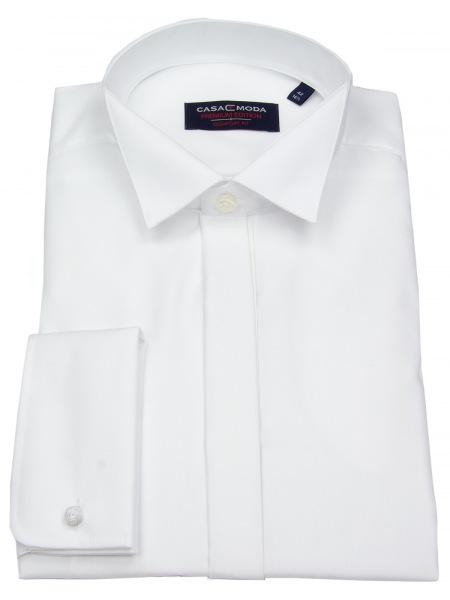 Casa Moda Hemd - Comfort Fit - Kläppchenkragen - verd. Knopfleiste - weiß - 005350 0
